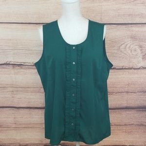 Banana Republic green blouse with ruffled front